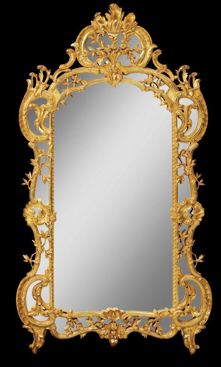 Barroco espejo estilo luis xiv marco de madera dorado a for Disenos de espejos tallados en madera