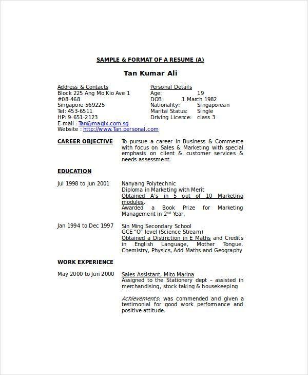 Resume Format Housekeeping Resume Format Resume Sample Resume