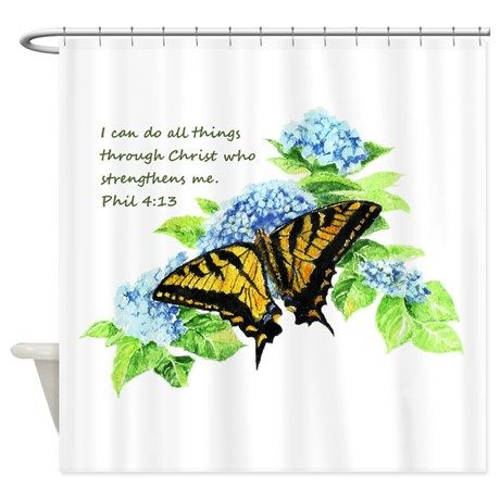 Motivational Scripture Butterfly Shower Curtain By