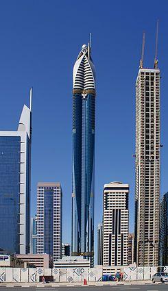 Rose Rayhaan von Rotana (oder Rose Tower) in Dubai, U.A.E. ist 1.093 Fuß groß, hat 72 Geschichten und ist zZ das zweithöchste Hotel der Welt.