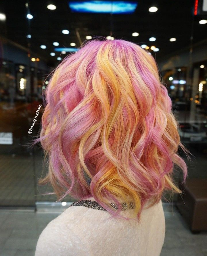 Light Pink And Yellow Hair Ombre Looks Like Sherbet Short Hair