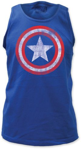 8a681554f72e7a Tank Top  Captain America - Distressed Shield on Royal in 2018