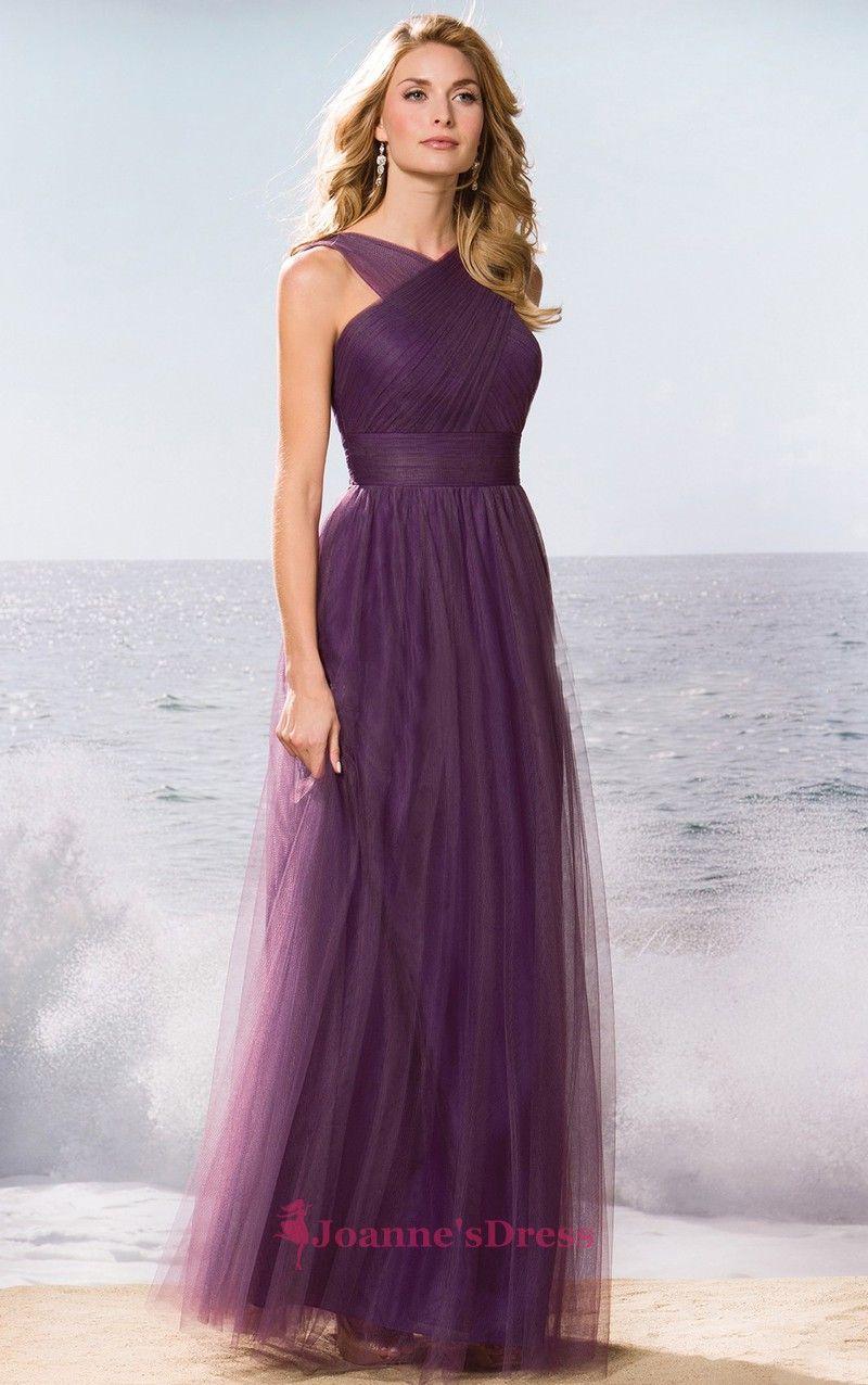 Purple V Neck Crisscross Chiffon Floor Length Color Bridesmaid Dress ...