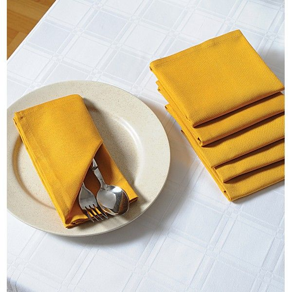 Yellow Dinner Napkins Set- Crisp and bright as a sunny day, bring to life your table settings in this sunny shade of yellow.