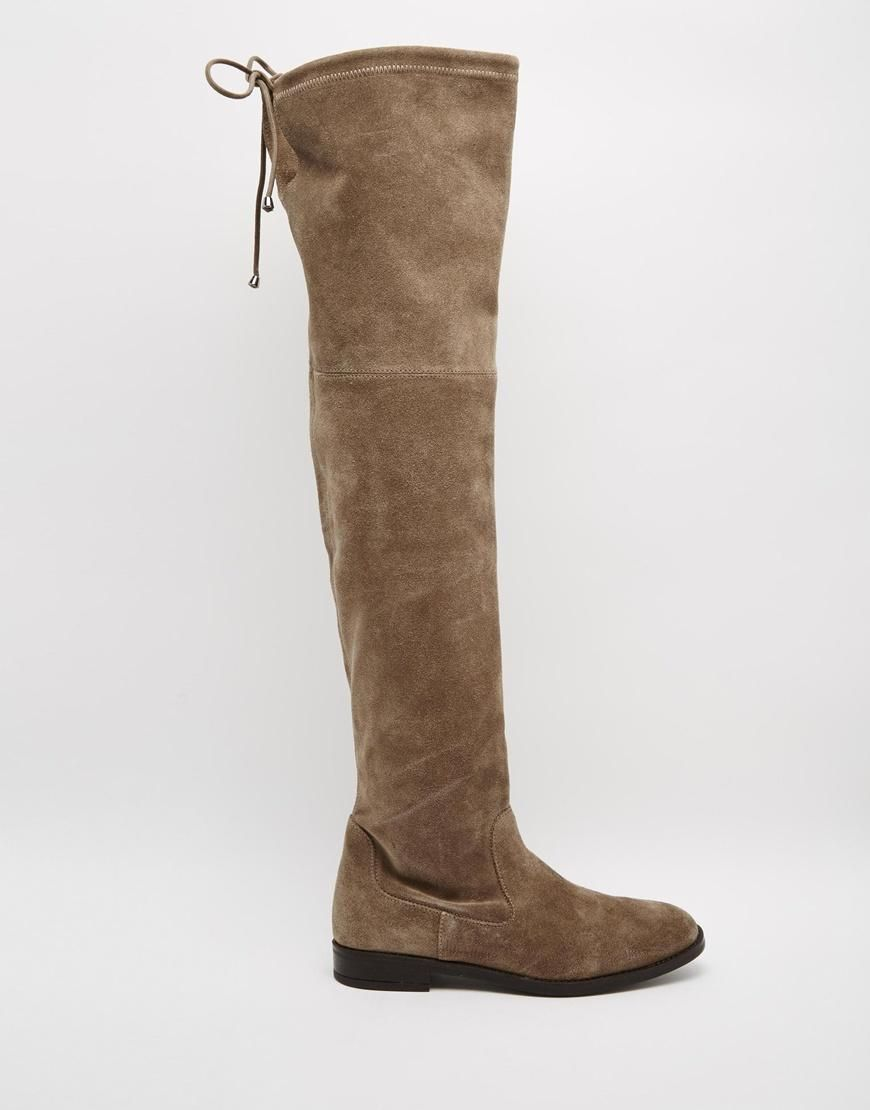 745ad99a53 ALDO | ALDO Barra Taupe Suede Flat Over The Knee Boots at ASOS Cipő, Ruhák