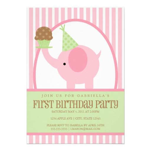5x7 Pink Elephant Birthday Invitation! Make your own invites more personal to celebrate the arrival of a new baby. Just add your photos and words to this great design.
