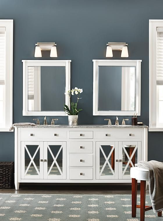 Home Decorators- vanities in white or a blue gray Bathroom Ideas