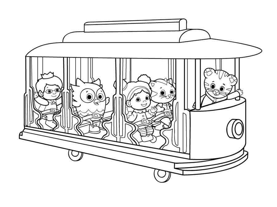 Daniel Tiger S Neighborhood Trolley Coloring Page Ritbok E