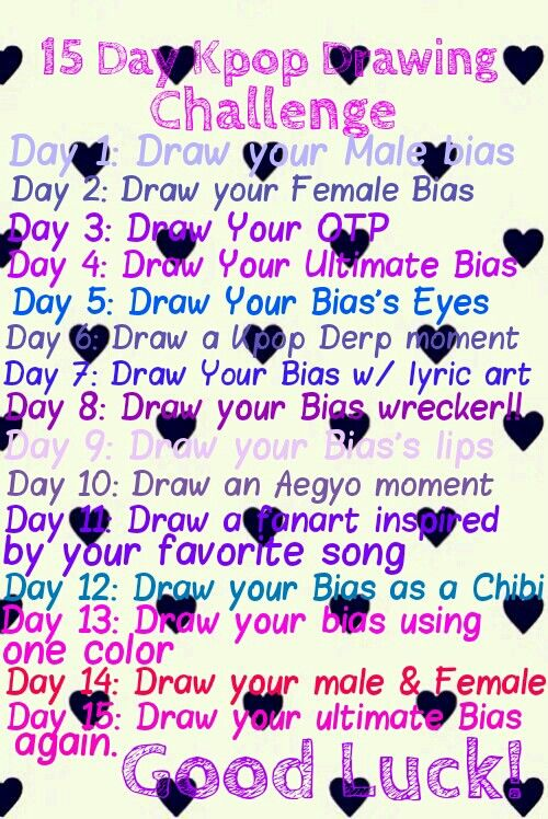 My Kpop Drawing Challenge Drawing Challenge Kpop Drawings 30 Day Drawing Challenge