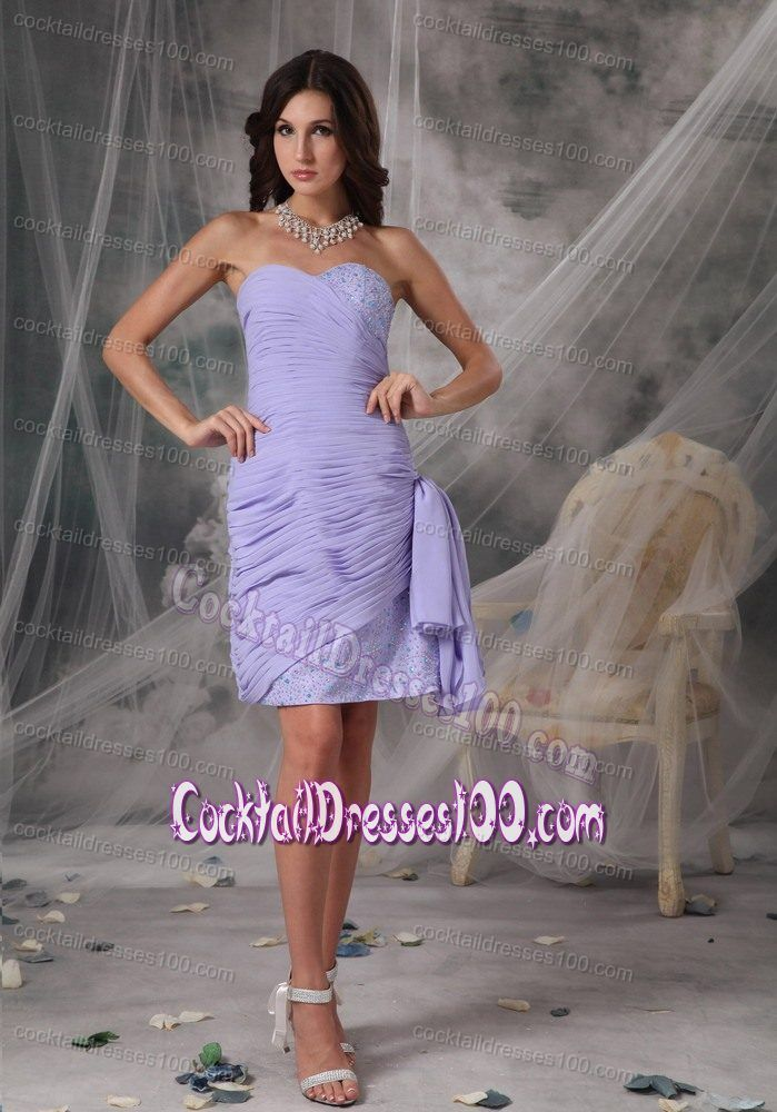 Sweetheart Lilac Chiffon Cocktail Dress with Ruches and Beading ...