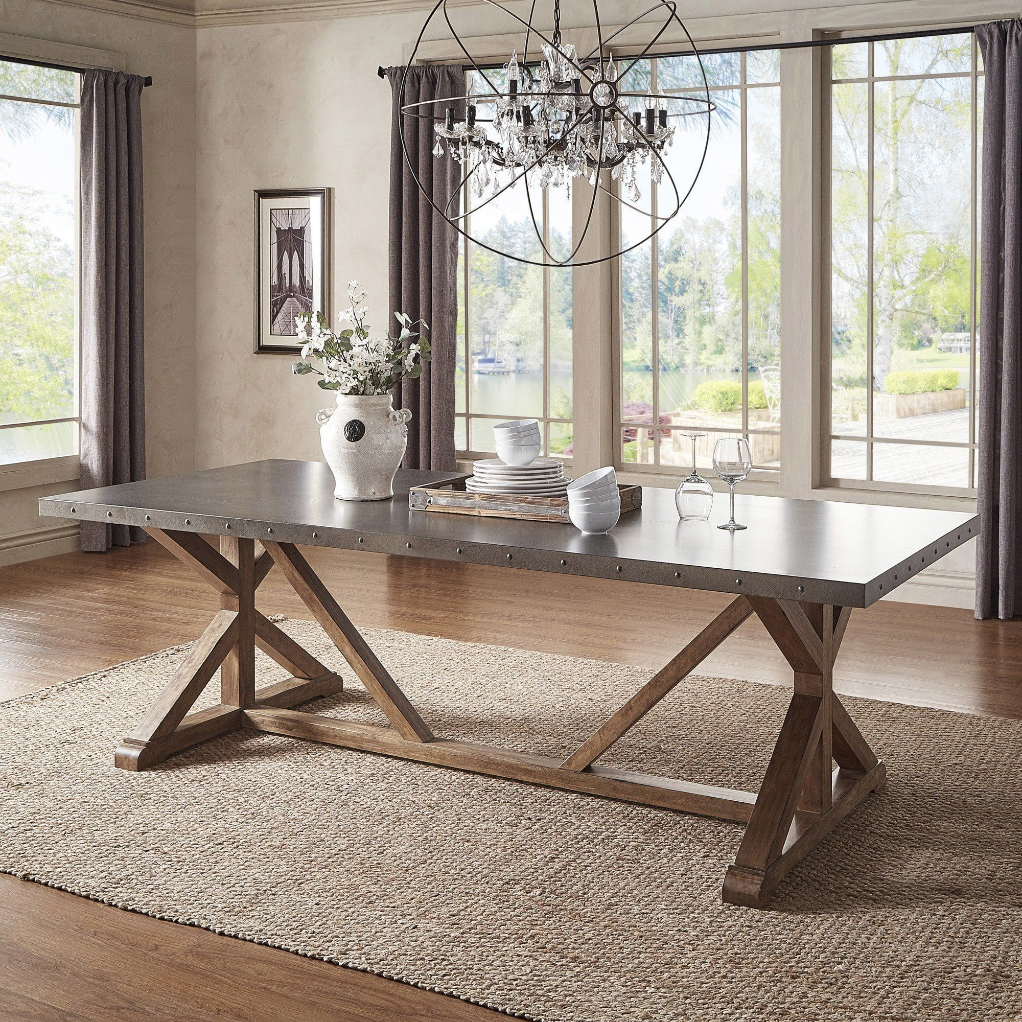 Hammered Metal Top Natural Finiah Trestle Base Dining Table