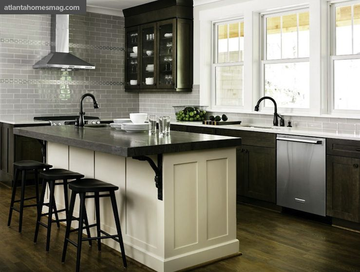kitchens gray glass tiles subway tiles backsplash espresso – White Kitchen Cabinets with Black Island