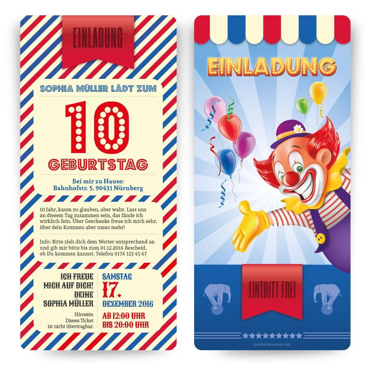 Einladungskarten zum Kinder Geburtstag im Zirkus Clown Ticket Motiv Einladung