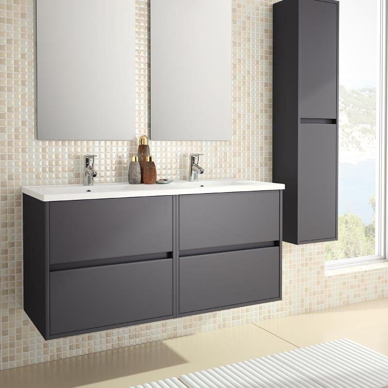 Meuble salle de bain 120 cm, 4 tiroirs, plan vasque porcelaine, gris