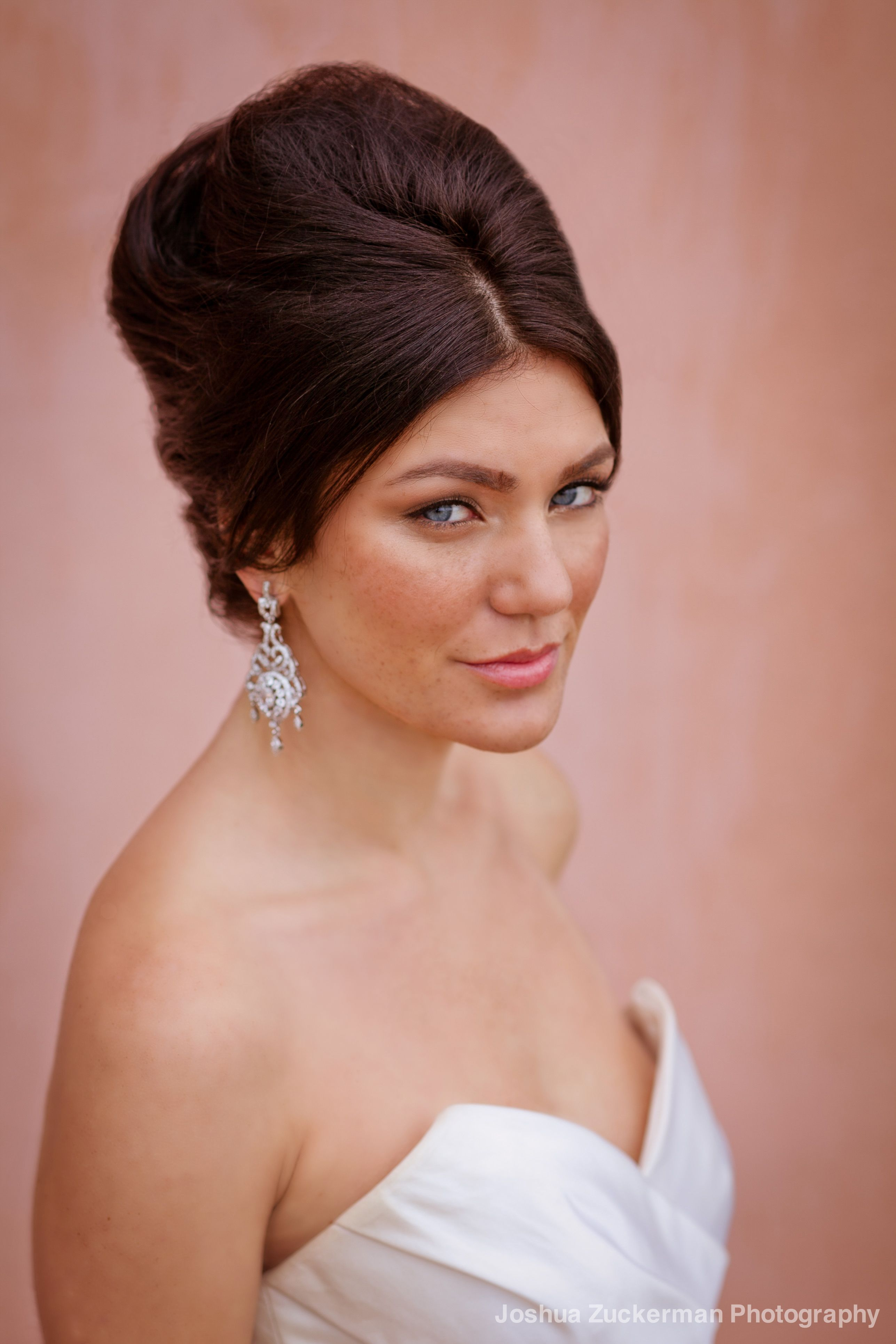 retro bride. wedding hair updo and soft, natural bridal makeup by