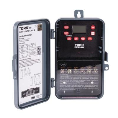 Tork 30 Amp 120 277 Volt Astronomic Indoor Outdoor Time Switch Gray Digital Timer Digital Light Switch Covers