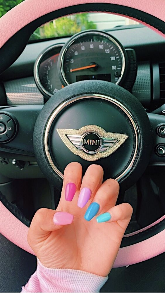 Korean DIY Nail Designs Autumn Pink Blue Candy French Nails