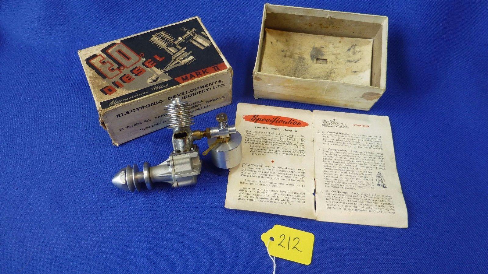 "MODEL AIRPLANE ENGINE ED DIESEL MARK II ""PENNY SLOT"" UK 1947 S/N B61/7 ORIG BOX 