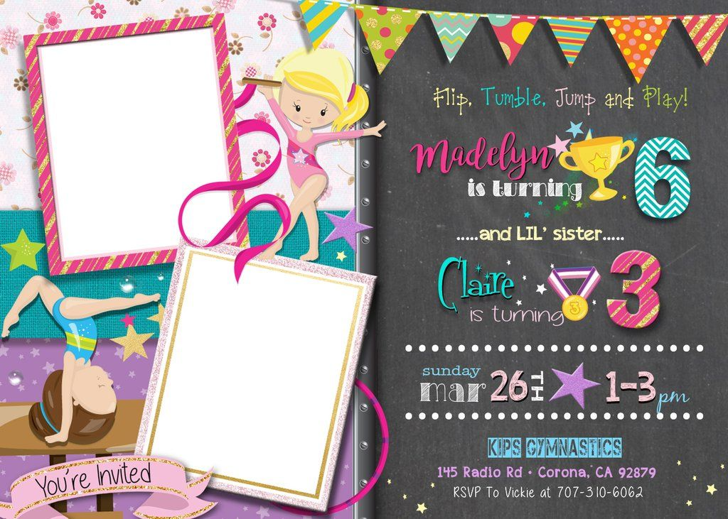 Girl Gymnastics Birthday Invitations