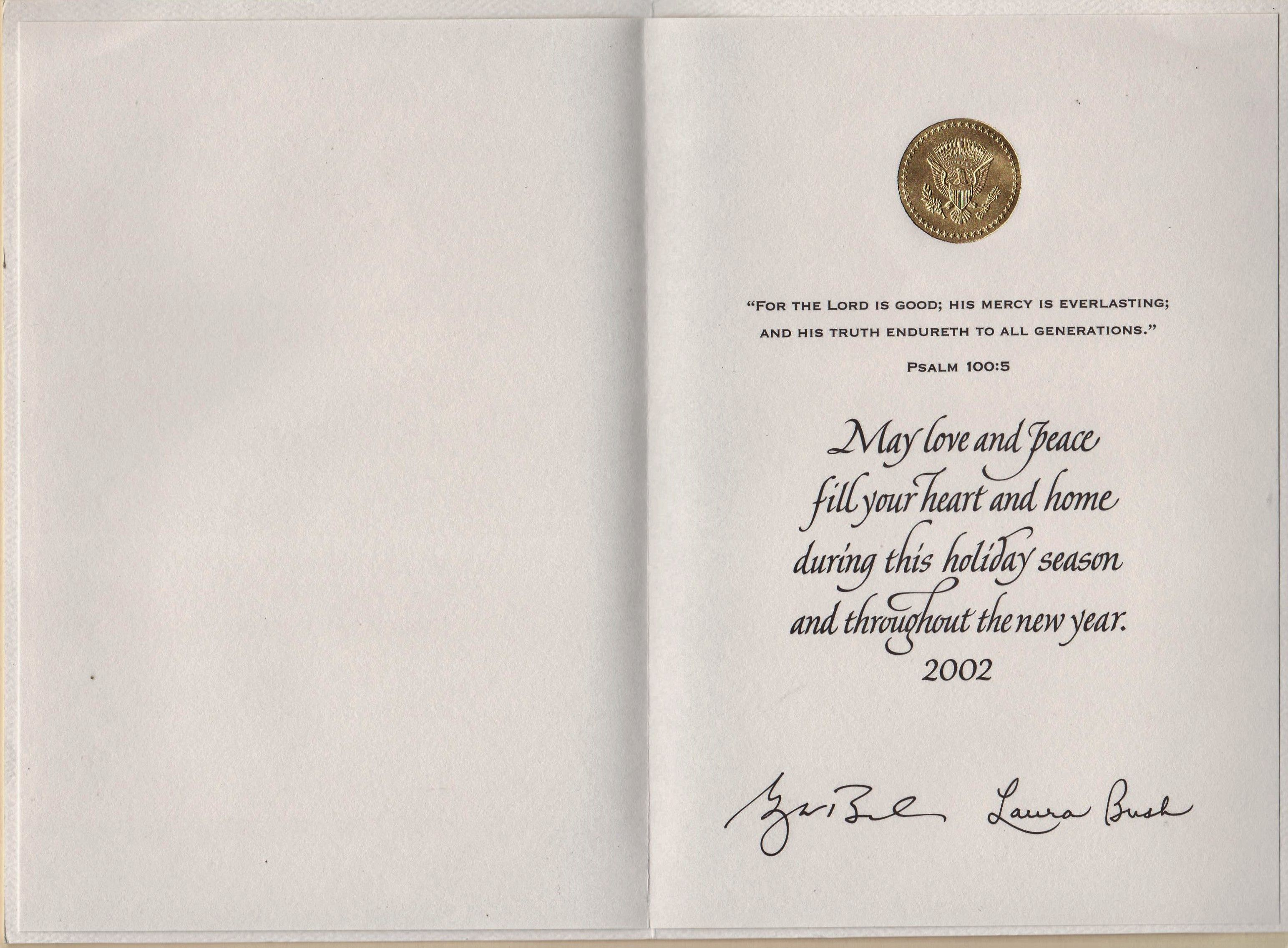 White House Christmas Card To Staff 2002 George And Laura Bush