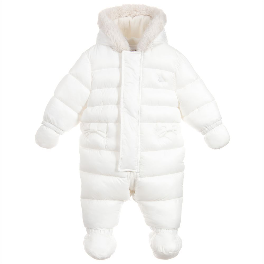 3208b36bf822 Mayoral Newborn - White Snowsuit with Faux Fur