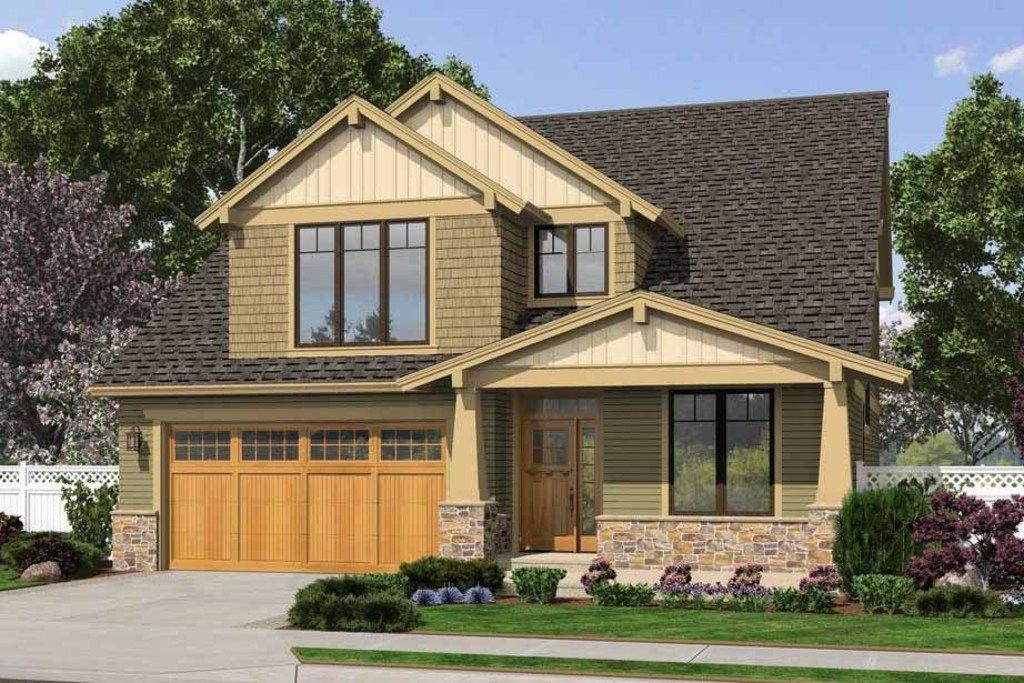 Bungalow craftsman front elevation plan Craftsman houseplans