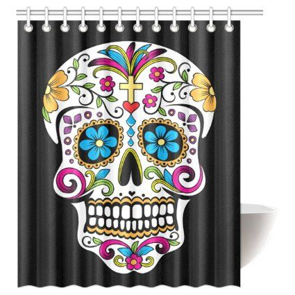Cozybath Dia De Los Muertos Waterproof Polyester Fabric 60 W X 72 H Shower Curtain And Hooks Floral Wall Art Prints Skull Shower Curtain Skull Wall Art