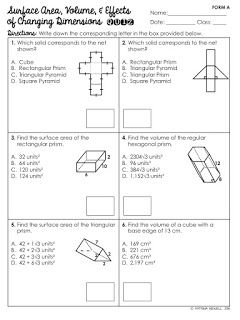 FREE Surface Area and Volume of Prisms Quiz | Geometry Worksheets ...