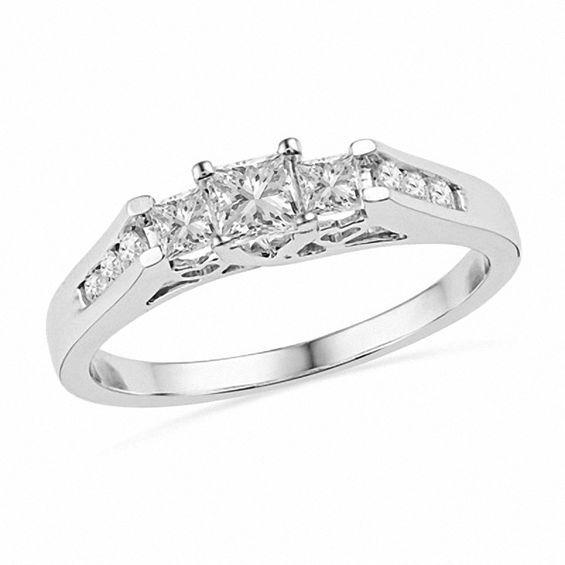 635daa772489e 1/2 CT. T.W. Princess-Cut Diamond Three Stone Ring in 10K White Gold ...