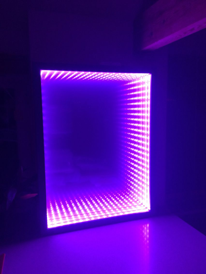 Infinity Mirror Diy It S Easy Made From A Box Picture Frame Led Strip Cut To Size And Film Stuck Sheet Of Plain Gl