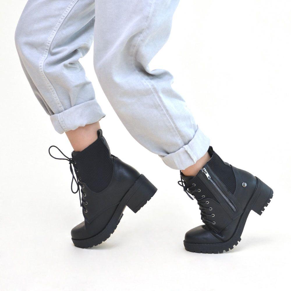botas militares tacón mujer negras