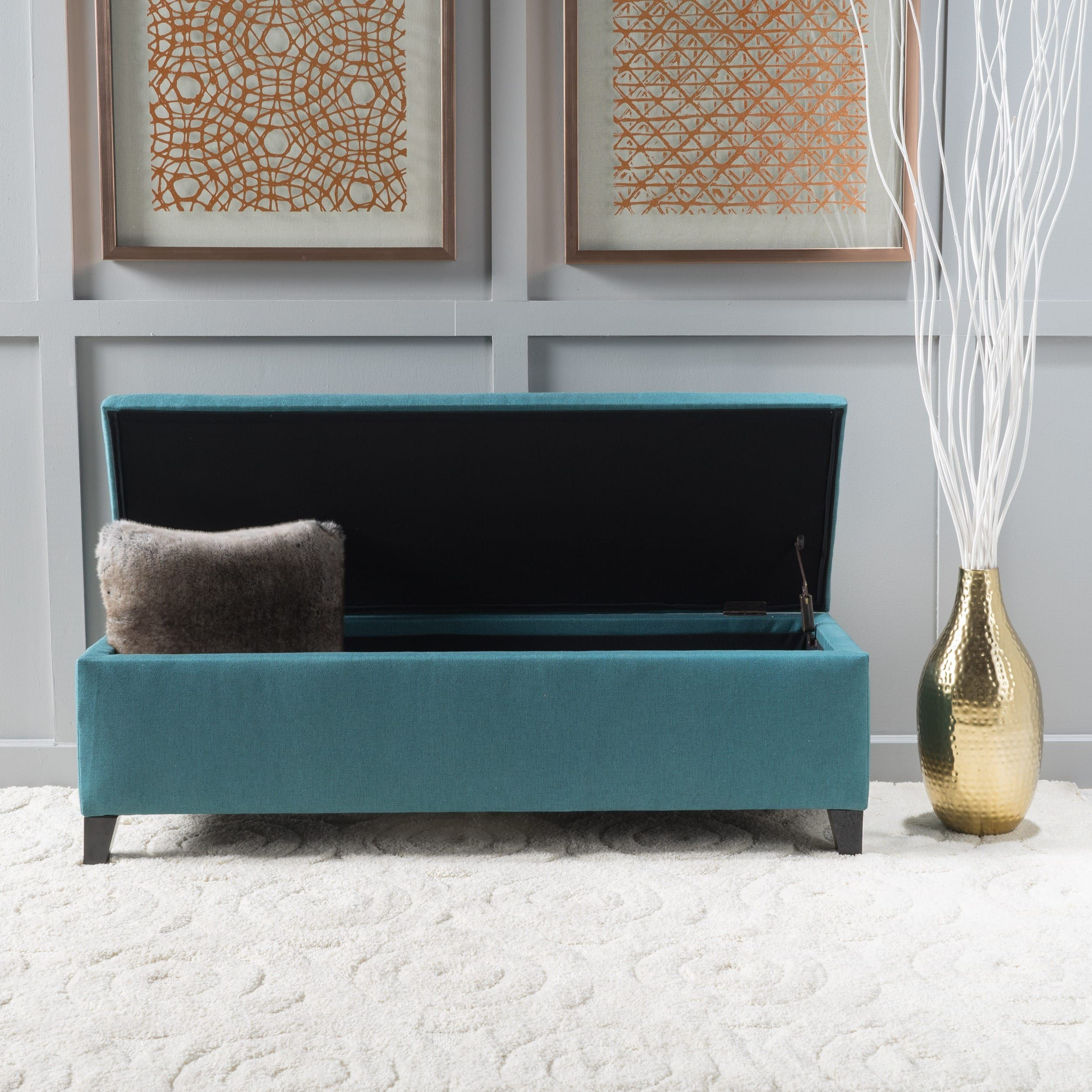 Cleo Fabric Storage Ottoman Bench By Christopher Knight Home (Dark Teal),  Green, Size Large