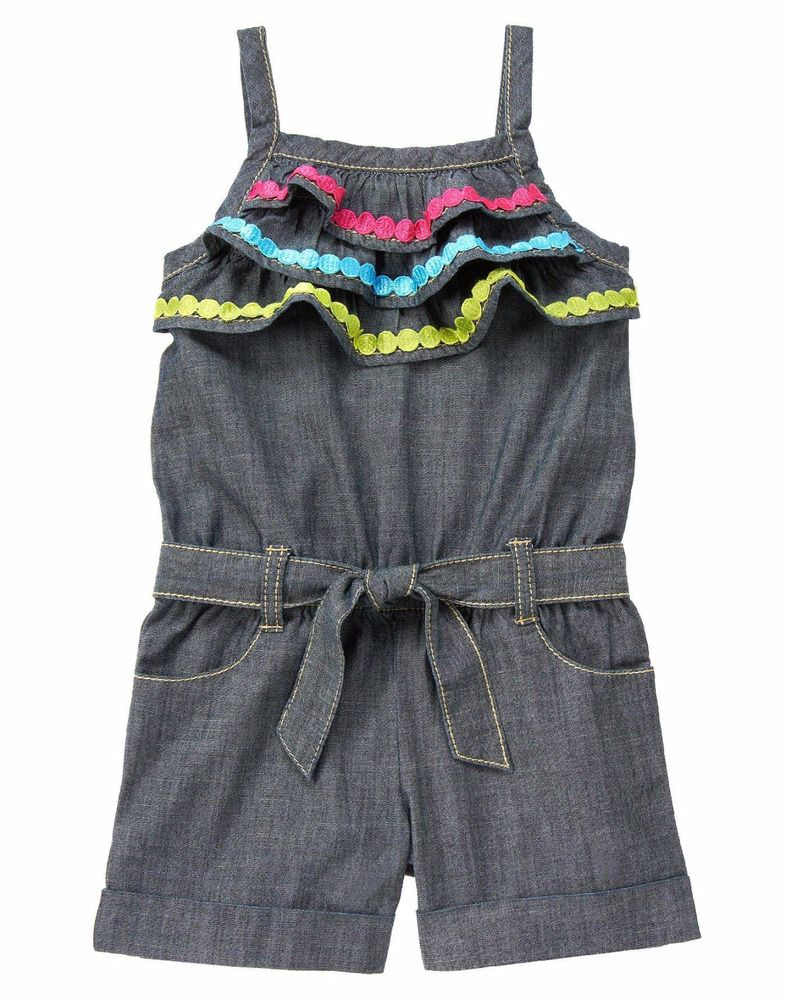 9880e1c15415 Gymboree Girls Spring Vacation Ruffle Chambray Tank Belted Shorts Romper  Size 12  Gymboree  Romper