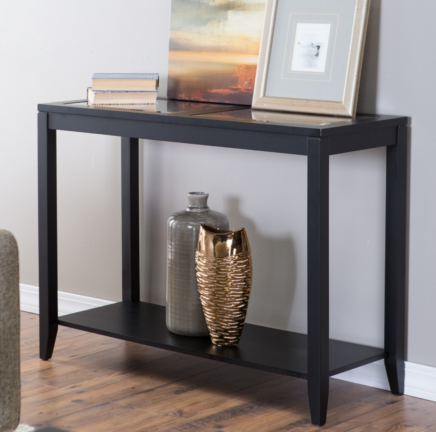 glass top black console table  living room furniture