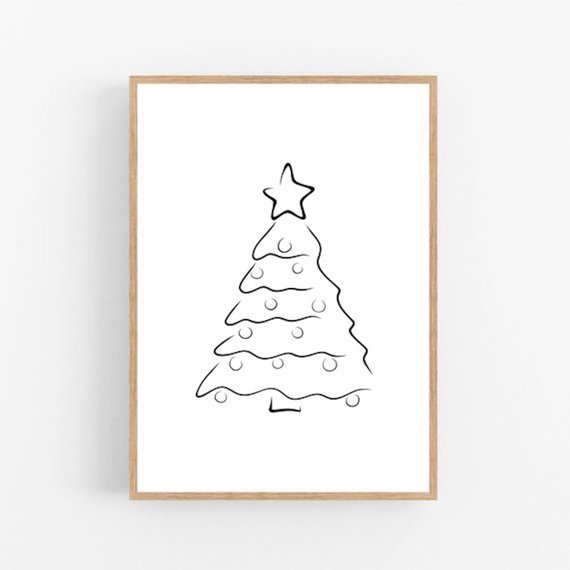 Christmas Tree Line Art Christmas Tree Print Abstract Etsy Tree Drawing Christmas Tree Drawing Cool Christmas Trees