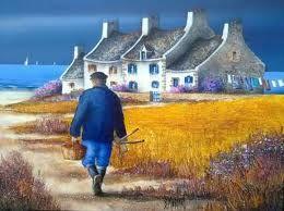 paysage breton peinture cross stitch pinterest watercolor naive art and folk. Black Bedroom Furniture Sets. Home Design Ideas
