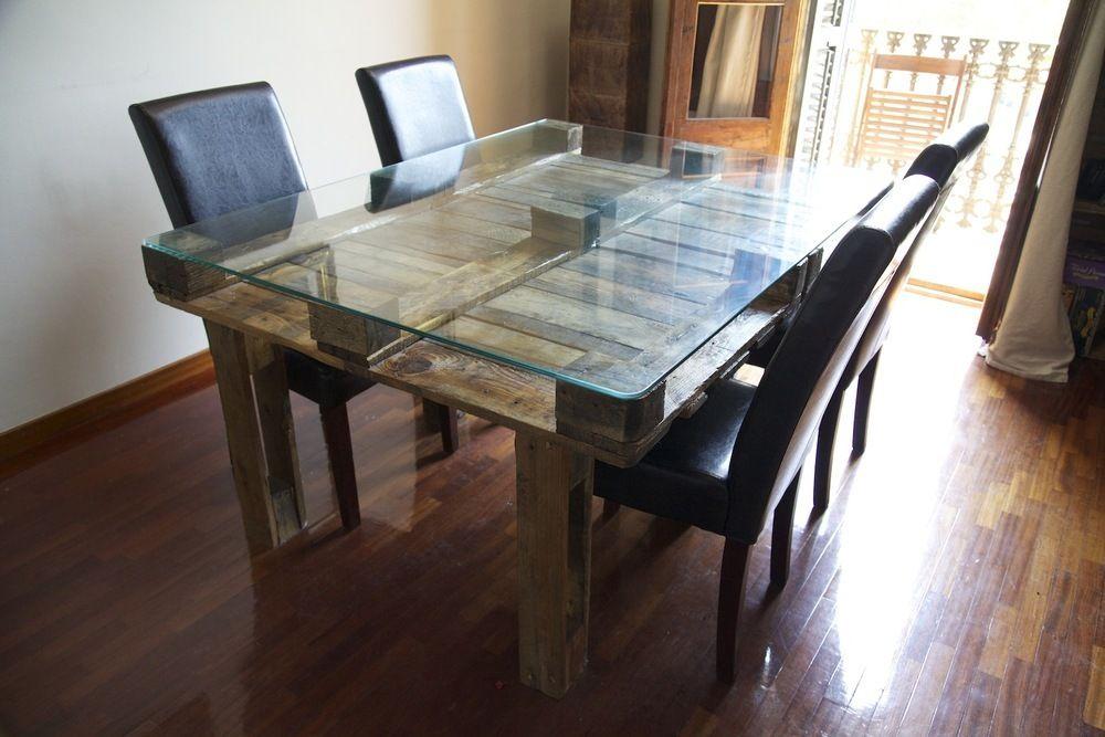 Mesa hecha con palets palet reciclado reciclados leonidas - Mesas de palet ...