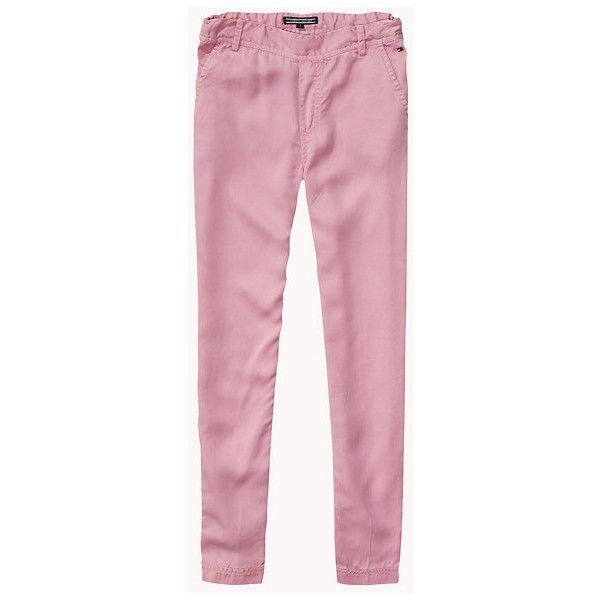 Slim Tapered Fit Trousers ($69) ❤ liked on Polyvore featuring pants, slim fit tapered pants, pink trousers and pink pants