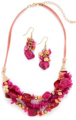 Complete your outfit with this fashion jewelry set that includes a multi row cord necklace with pink cluster chips and beads and matching 2.25 in. drop fishhook earring. Necklace measures 16 in. with a 3 in. extender.