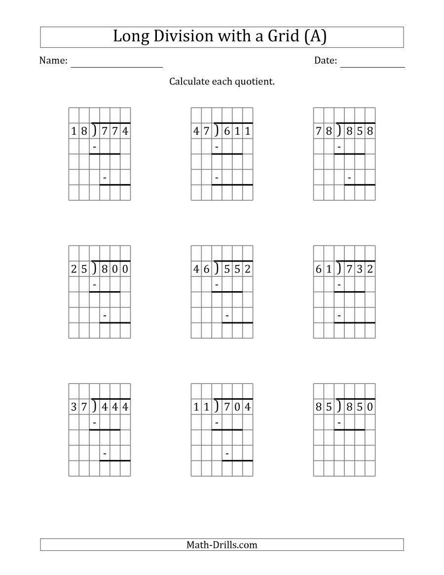 The 3-Digit by 2-Digit Long Division with Grid Assistance and Prompts and  NO Remainders (A) Math Worksheet   Division worksheets [ 1165 x 900 Pixel ]