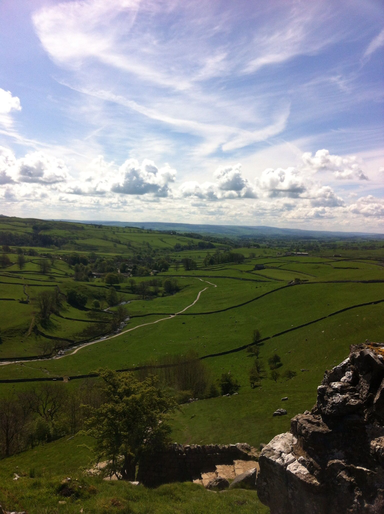 The view from Malham Cove in the Yorkshire Dales.