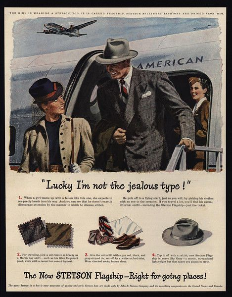 1947 STETSON Hats - American Airlines - Stewardess Airplane - Jealous  VINTAGE AD ef4c63bd2345