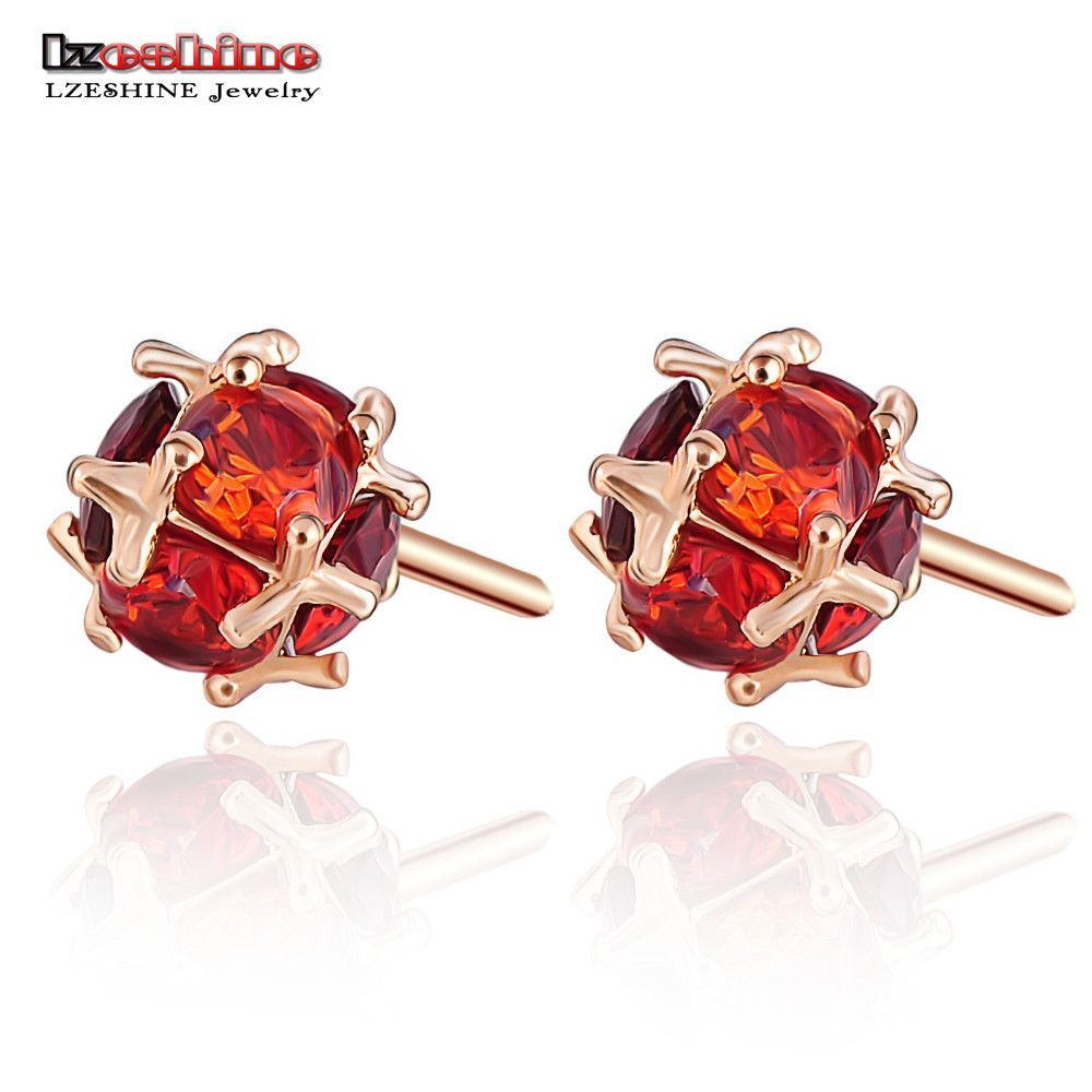 Stone earrings stud gold plated small cute earrings for girls