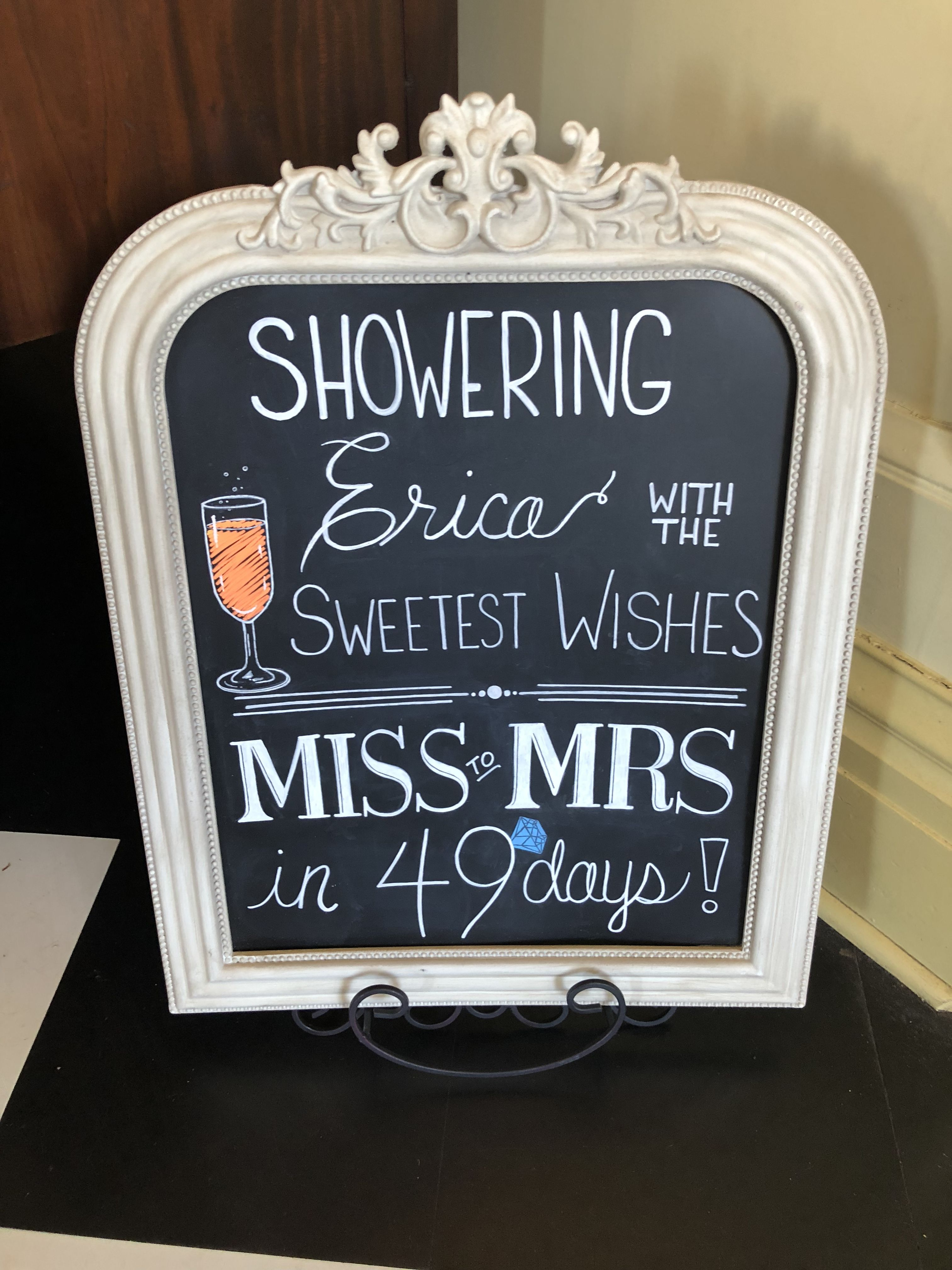 Bridal Shower Sign Frame From Michael S Hand Written Drawn In