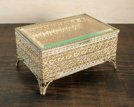 Brass velvet lined vintage jewelrytrinket box