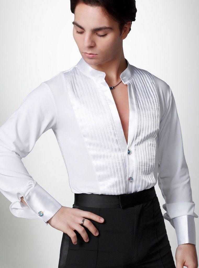 Adult Dancewear Mens Modern Ballroom Dance Shirt Latin Jazz Ballet Tops Costumes
