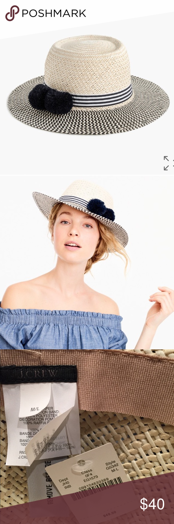 J. Crew Straw Hat with Pom Poms Straw hat 17fae8181fcb