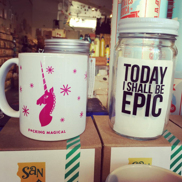 Mason jars with inspirational sayings. | 30 Things You See In Every Hipster Gift Shop
