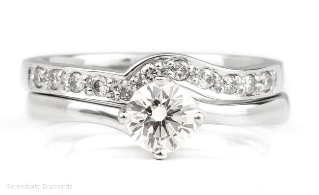 Shaped Wedding Ring Created To Contour Around A Four Claw Twist Engagement Both Rings