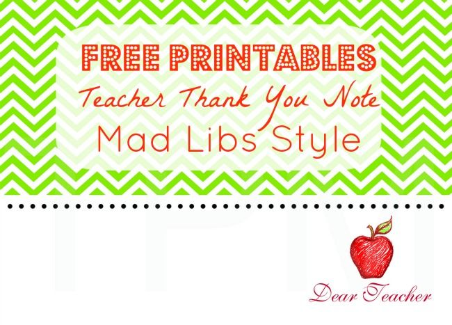 Teacher Thank You Notes Free Printables